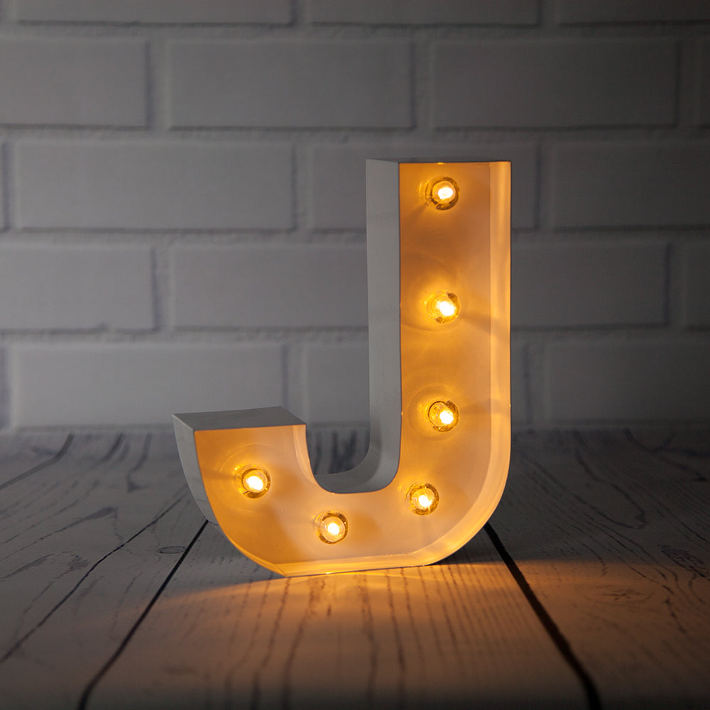 BLOWOUT White Marquee Light Letter 'J' LED Metal Sign (8 Inch, Battery Operated w/ Timer)