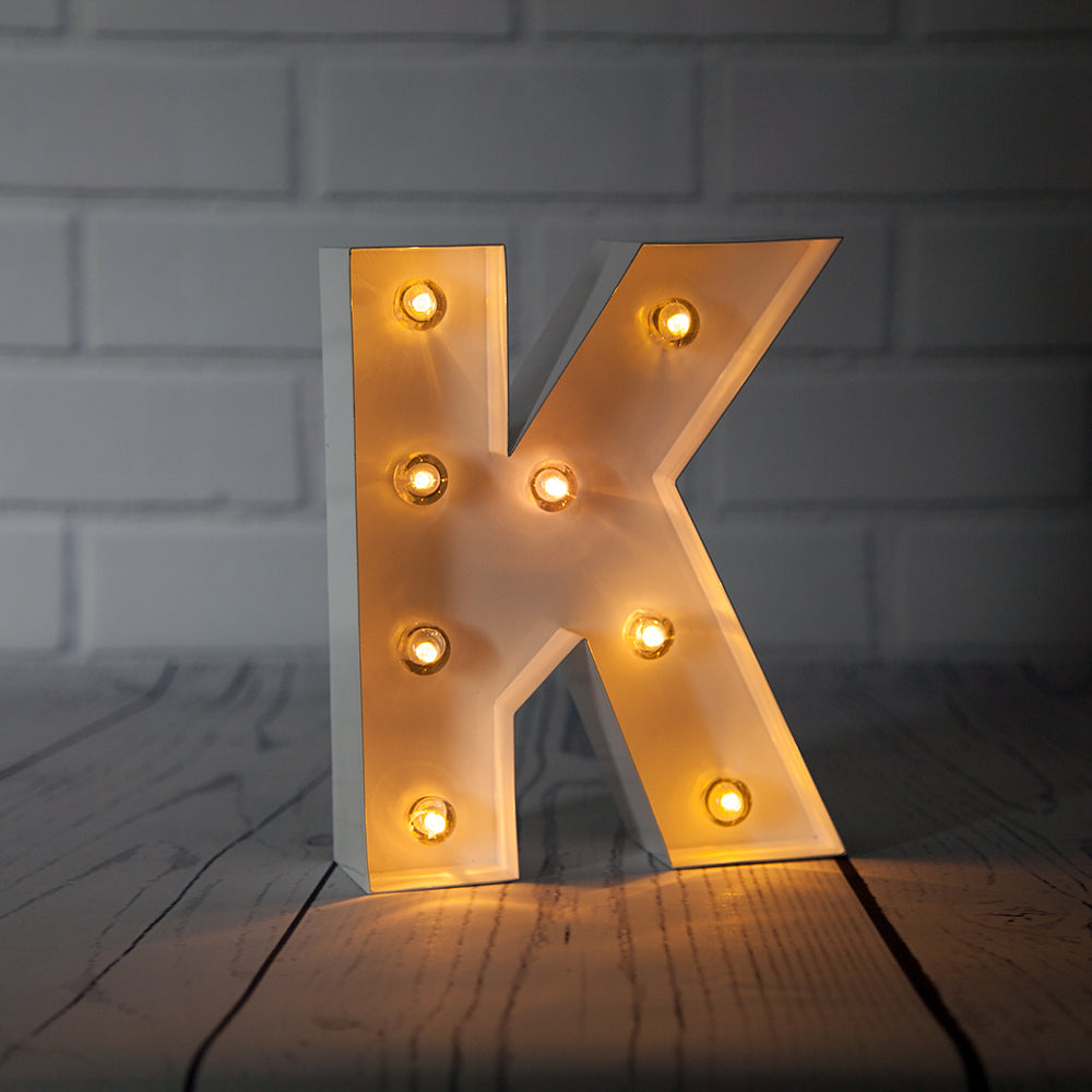White Marquee Light Letter 'K' LED Metal Sign (8 Inch, Battery Operated w/ Timer)