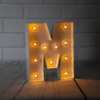 BLOWOUT White Marquee Light Letter 'M' LED Metal Sign (8 Inch, Battery Operated w/ Timer)