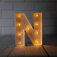 BLOWOUT White Marquee Light Letter 'N' LED Metal Sign (8 Inch, Battery Operated w/ Timer)