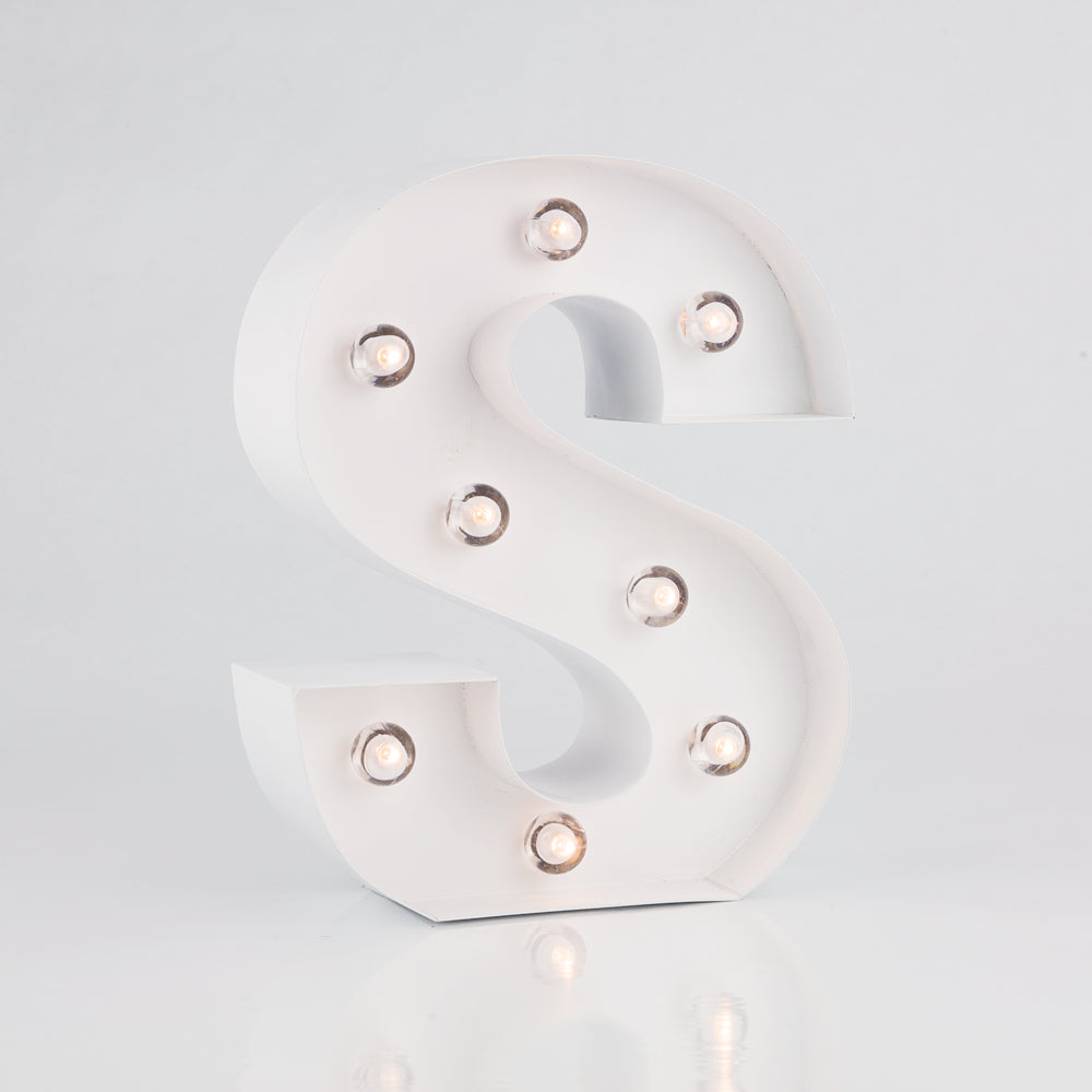 White Marquee Light Letter 'S' LED Metal Sign (8 Inch, Battery Operated w/ Timer) - PaperLanternStore.com - Paper Lanterns, Decor, Party Lights & More