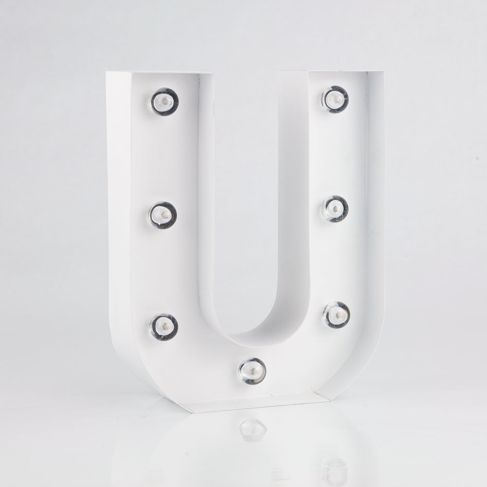 BLOWOUT White Marquee Light Letter 'U' LED Metal Sign (8 Inch, Battery Operated w/ Timer)