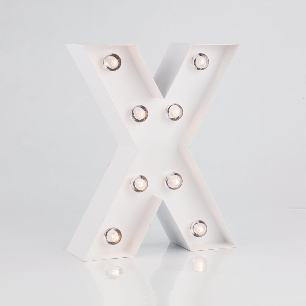 White Marquee Light Letter 'X' LED Metal Sign (8 Inch, Battery Operated w/ Timer) - PaperLanternStore.com - Paper Lanterns, Decor, Party Lights & More