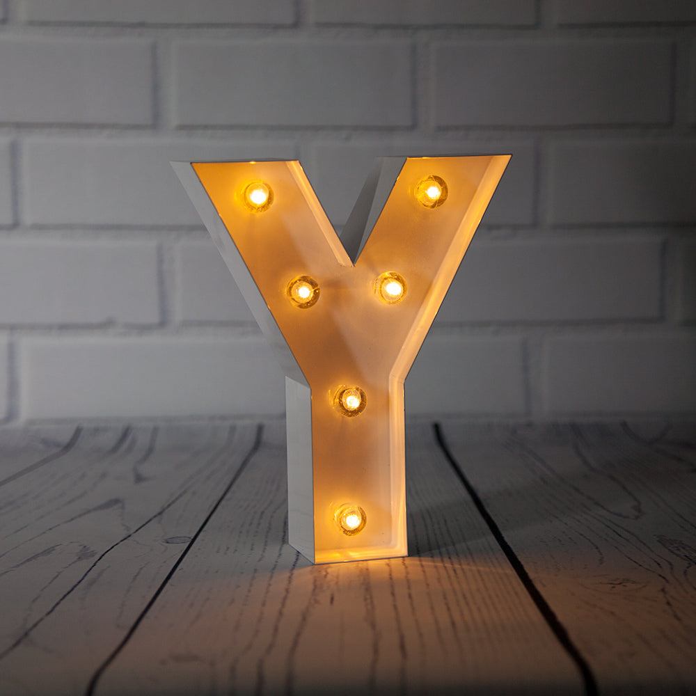 BLOWOUT White Marquee Light Letter 'Y' LED Metal Sign (8 Inch, Battery Operated w/ Timer)