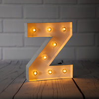 BLOWOUT White Marquee Light Letter 'Z' LED Metal Sign (8 Inch, Battery Operated w/ Timer)
