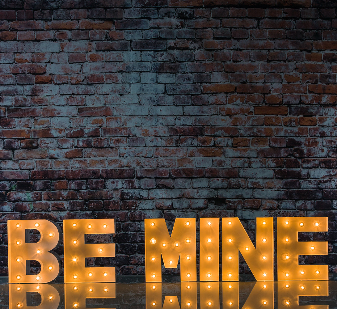 BLOWOUT White Marquee Light 'BE MINE' LED Metal Sign (8 Inch, Battery Operated w/ Timer)