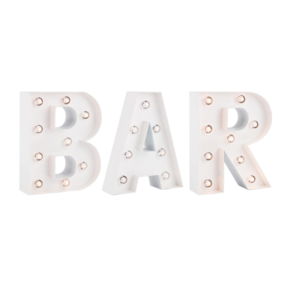 BLOWOUT White Marquee Light 'BAR' LED Metal Sign (8 Inch, Battery Operated w/ Timer)