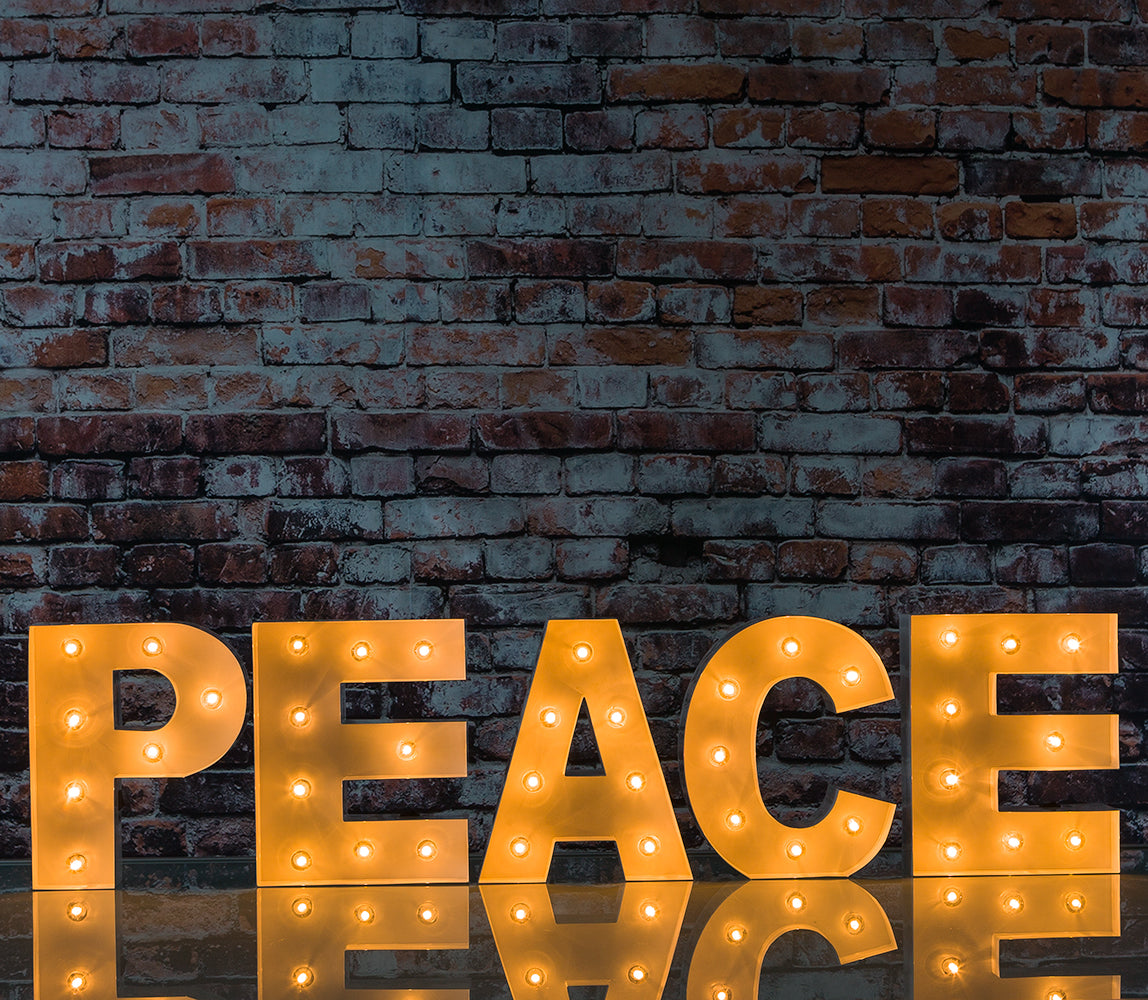 White Marquee Light 'PEACE' LED Metal Sign (8 Inch, Battery Operated w/ Timer)