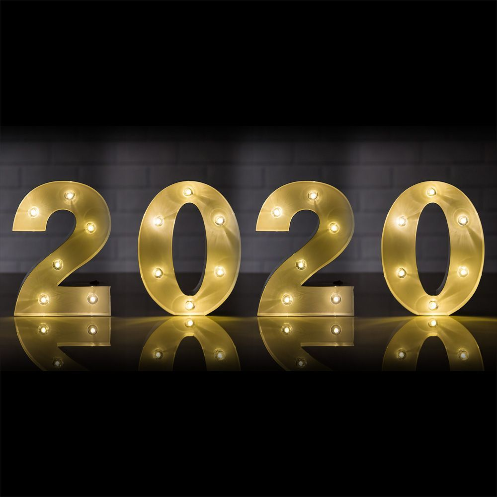 Marquee Light Year '2020' LED Metal Sign (8 Inch, Battery Operated) - PaperLanternStore.com - Paper Lanterns, Decor, Party Lights & More