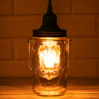 Fantado Mason Jar Pendant Light Kit, Wide Mouth, Clear Cord, 15FT