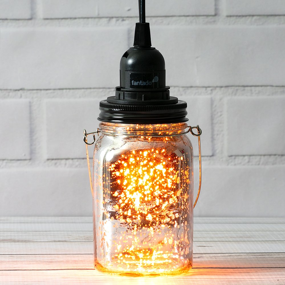 Silver Mercury Glass Mason Jar Pendant Light Kit, Regular Mouth, Black Cord, 15FT