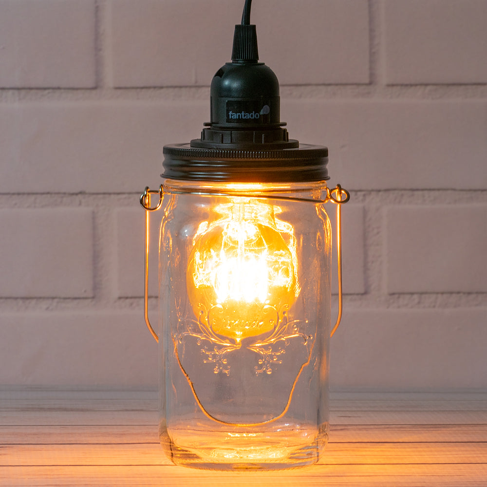 Fantado Mason Jar Pendant Light Kit, Wide Mouth, Black Cord, 15FT