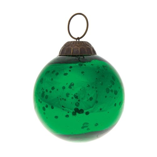 "2"" Green Ava Mercury Glass Ball Ornament Christmas Holiday Decoration"