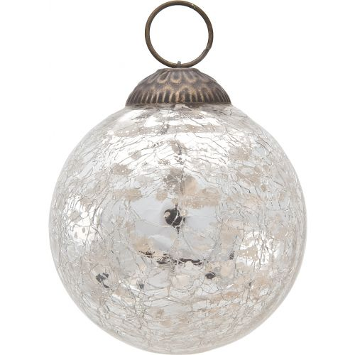 3 Inch Silver Lana Mercury Crackle Ball Glass Ornament Christmas Tree Decoration For Sale Now