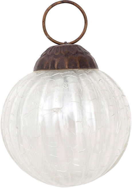 "3"" Pearl White Mona Mercury Glass Lined Ball Ornament Christmas Decoration"