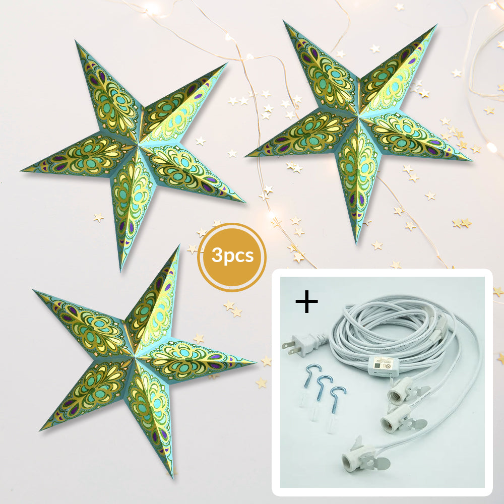 "3-PACK + Cord | Green / Turquoise Merry Glitter 24"" Illuminated Paper Star Lanterns and Lamp Cord Hanging Decorations - PaperLanternStore.com - Paper Lanterns, Decor, Party Lights & More"