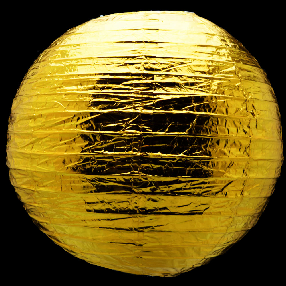 "12"" Gold Metallic Foil Paper Lantern, Even Ribbing, Hanging Chinese Hanging Wedding & Party Decoration"