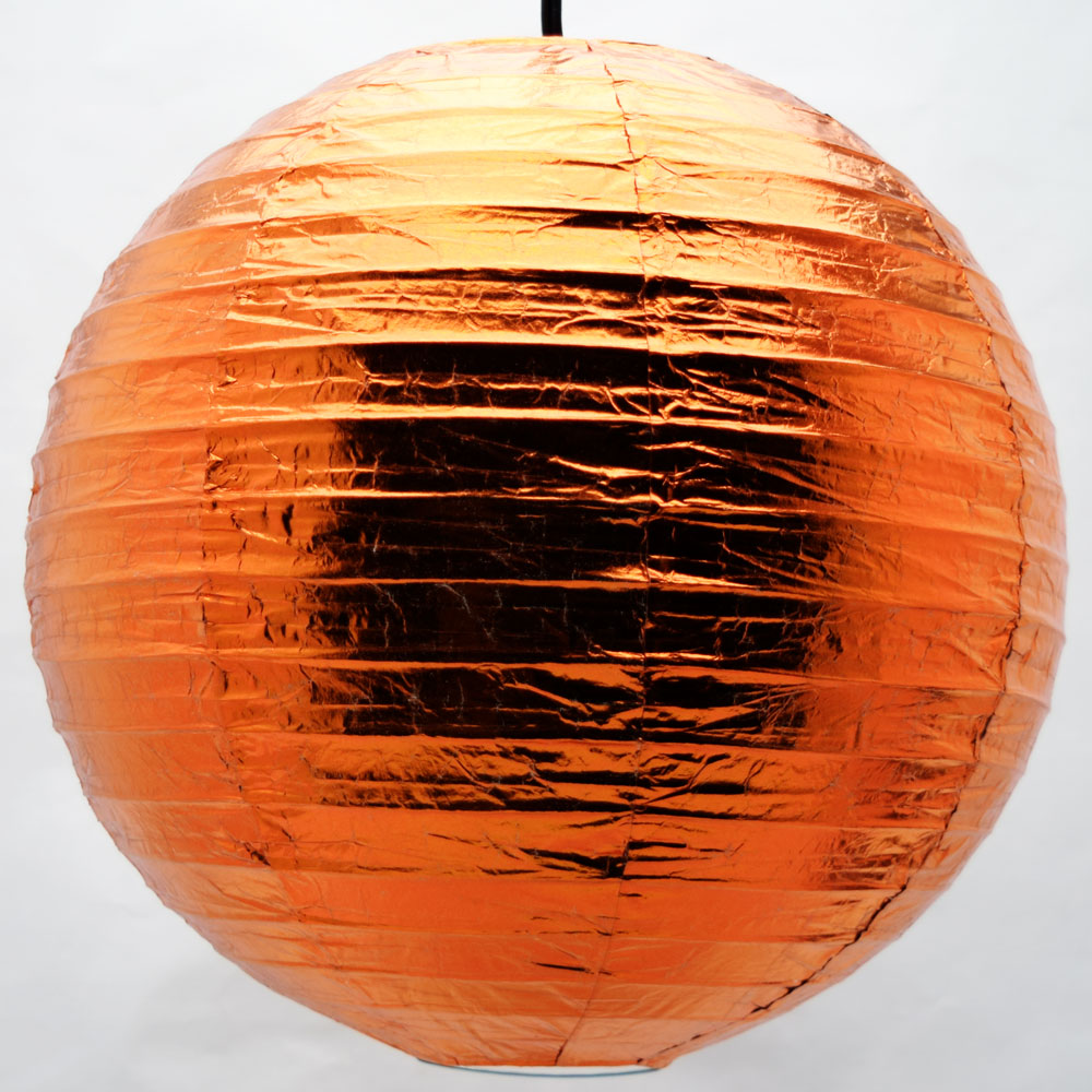 "16"" Copper Metallic Foil Paper Lantern, Even Ribbing, Hanging Chinese Hanging Wedding & Party Decoration"
