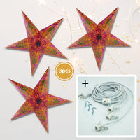 "3-PACK + Cord | Violet Purple Oriental Swan 24"" Illuminated Paper Star Lanterns and Lamp Cord Hanging Decorations"
