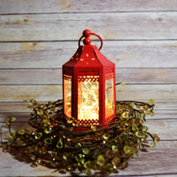 "BLOWOUT 4.5"" Red Pagoda Hurricane Candle Lantern"
