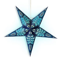 "24"" Blue Monarch Glitter Paper Star Lantern, Hanging Wedding & Party Decoration - PaperLanternStore.com - Paper Lanterns, Decor, Party Lights & More"