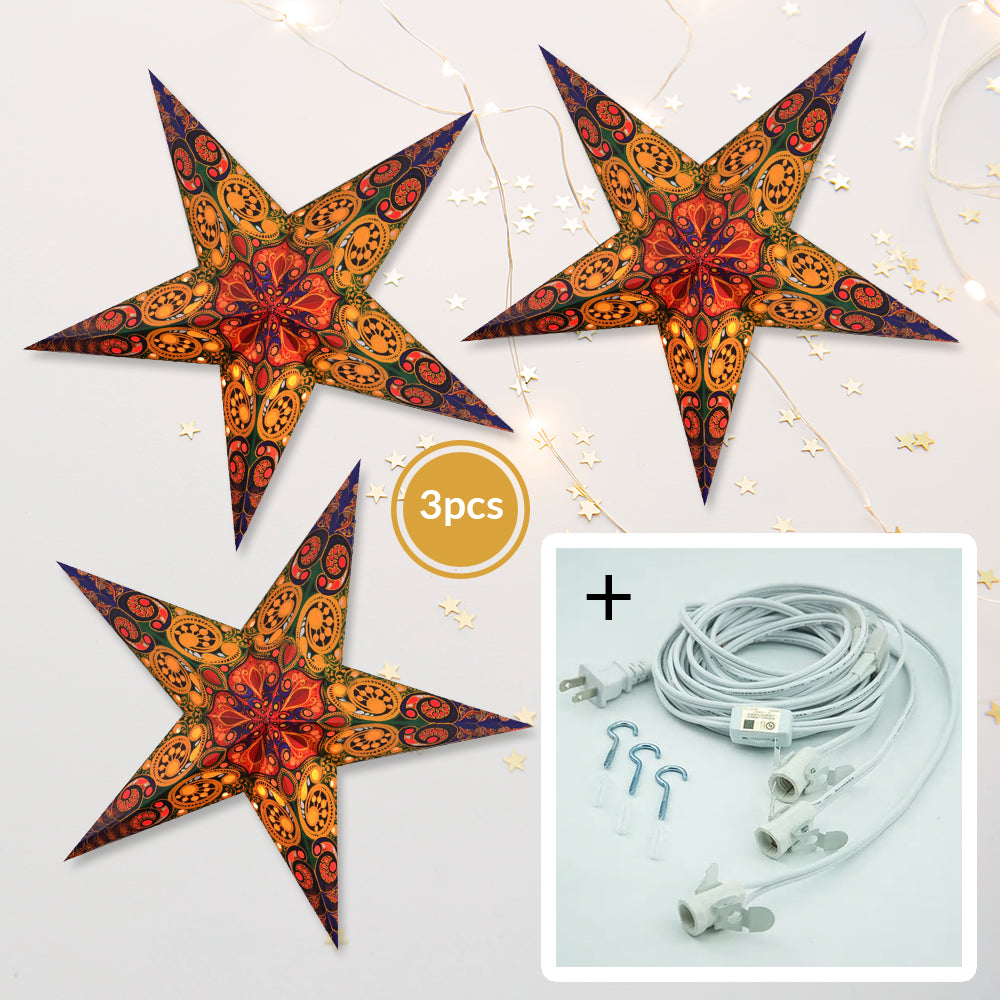 "3-PACK + Cord | Multi-Color Garden 24"" Illuminated Paper Star Lanterns and Lamp Cord Hanging Decorations"