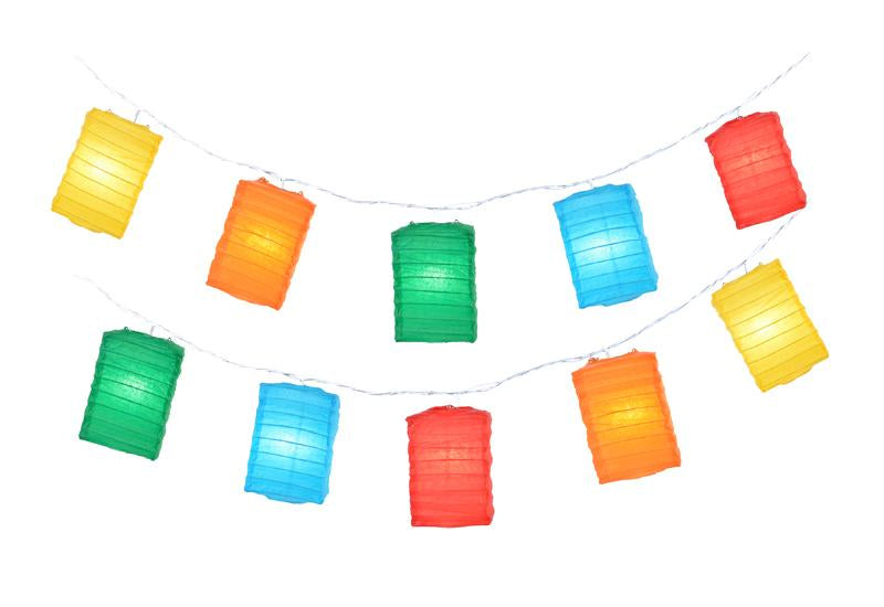 Multi-Color Hako Box Shaped Paper Lantern String String Lights (8FT, Expandable) - PaperLanternStore.com - Paper Lanterns, Decor, Party Lights & More