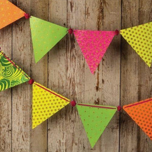 Neon Paper Large Triangle Pennant Banner (9.5 Feet Long) - PaperLanternStore.com - Paper Lanterns, Decor, Party Lights & More