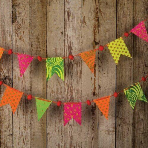 Neon Paper Small Pennant and Flag Banner (9.5 Feet Long) - PaperLanternStore.com - Paper Lanterns, Decor, Party Lights & More