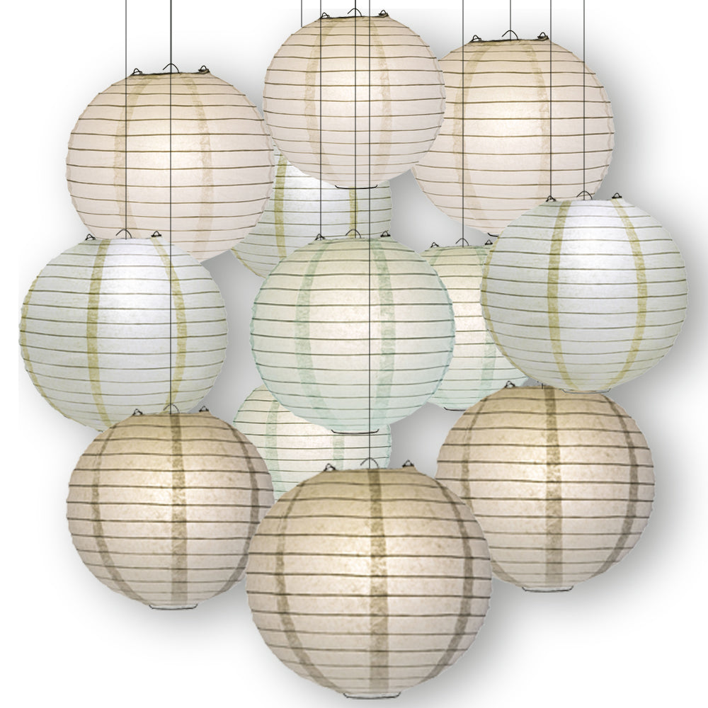 Neutral Color Party Pack Parallel Ribbed Paper Lantern Combo Set (12 pc Set)