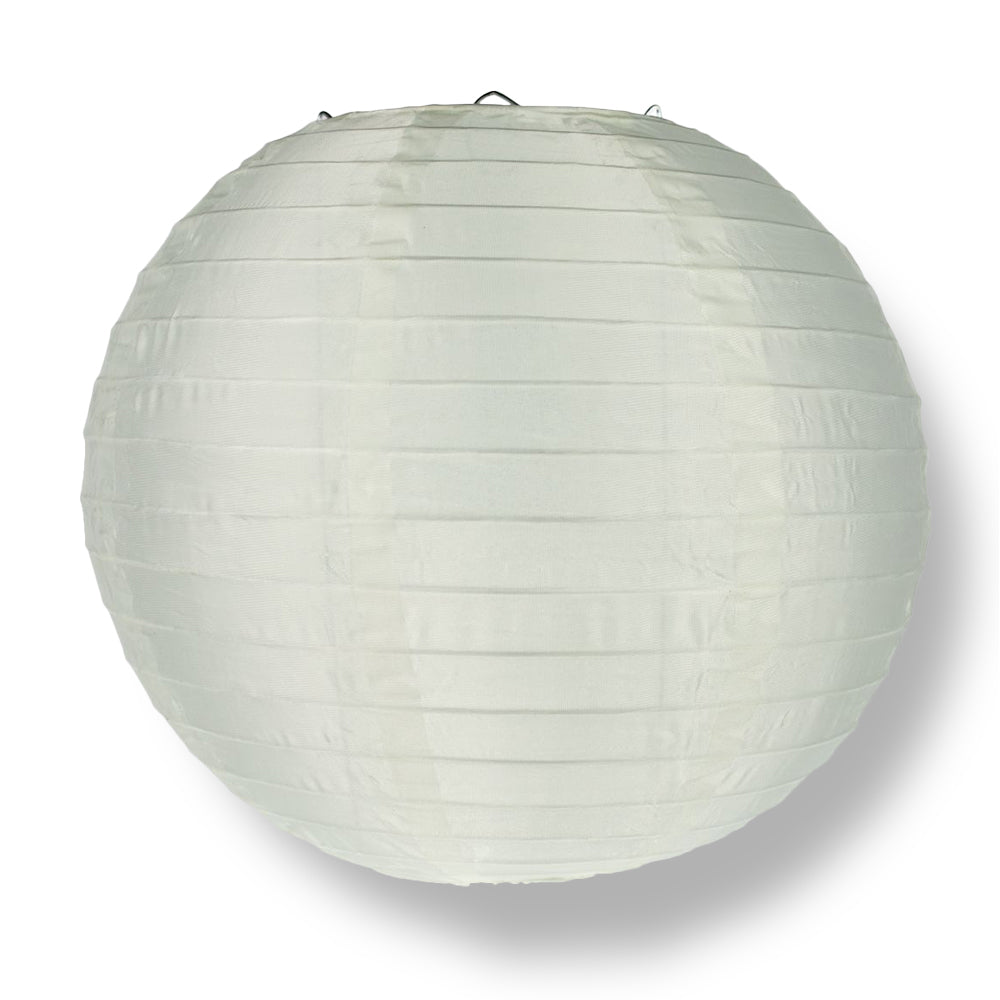 "4"" Beige / Ivory Round Shimmering Nylon Lantern, Even Ribbing, Hanging Decoration (10 PACK)"