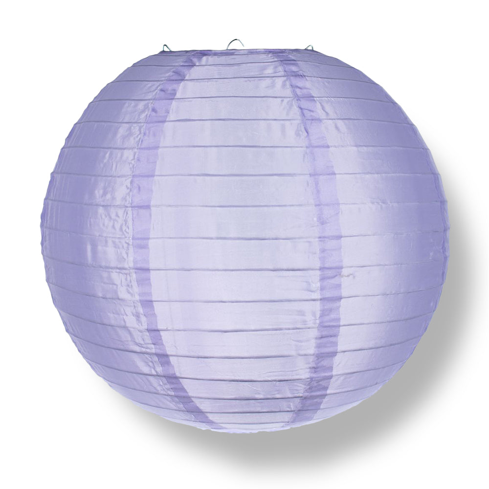 4 Inch Light Purple Round Shimmering Nylon Lanterns, Even Ribbing, Hanging (10-PACK) Decoration