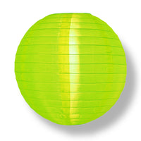 4 Inch Neon Green Round Shimmering Nylon Lanterns, Even Ribbing, Hanging (10-PACK) Decoration
