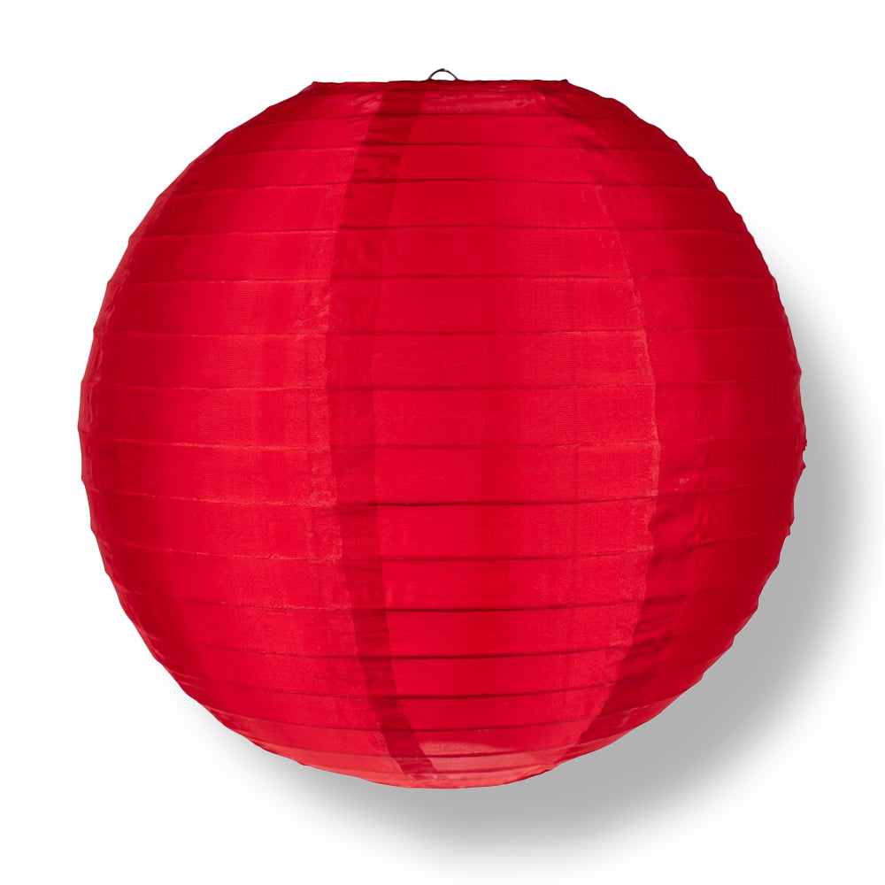 "12"" Red Shimmering Nylon Lantern, Even Ribbing, Durable, Hanging"