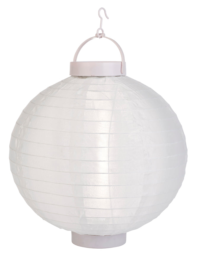 "BLOWOUT 12"" Beige / Ivory 16 LED Round Battery Operated Shimmering Nylon Lantern"