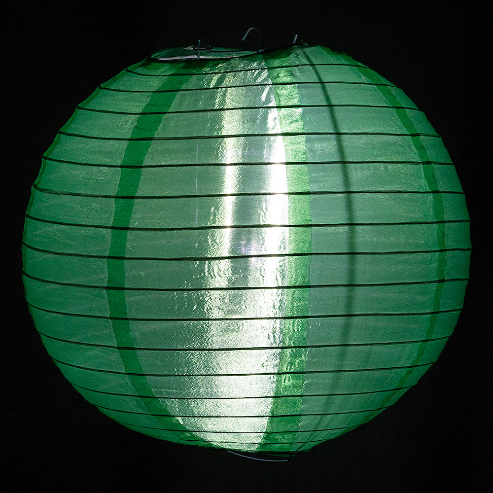 "4"" Emerald Green Round Shimmering Nylon Lantern, Even Ribbing, Hanging Decoration (10 PACK) - PaperLanternStore.com - Paper Lanterns, Decor, Party Lights & More"
