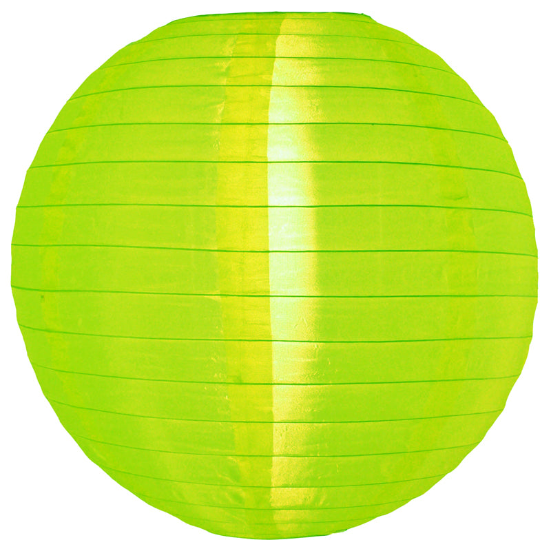 4 Inch Neon Green Round Shimmering Nylon Lanterns, Even Ribbing, Hanging (10-PACK) Decoration - PaperLanternStore.com - Paper Lanterns, Decor, Party Lights & More