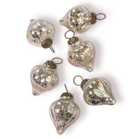 6 Pack | Mercury Glass Small Ornaments (2 to 2.25-inch, Silver, Carla Design) - Great Gift Idea, Vintage-Style Decorations for Christmas, Special Occasions, Home Decor and Parties