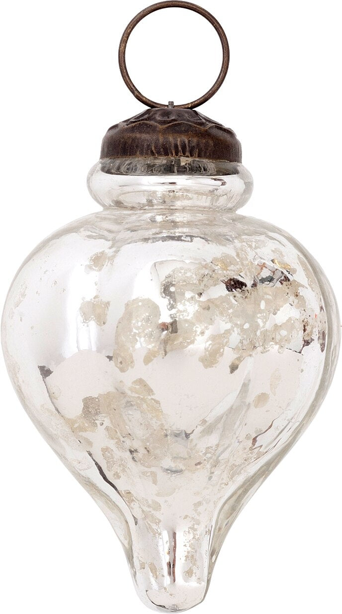 Mercury Glass Small Ornaments (2 to 2.25-inch, Silver, Carla Design, Single)
