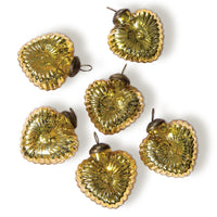 6 Pack | Small Glass Ornament (2-Inch, Gold, Viola Heart Design) - Great Gift Idea, Vintage-Style Decoration for Christmas, Special Occasions, Home Décor and Parties - PaperLanternStore.com - Paper Lanterns, Decor, Party Lights & More