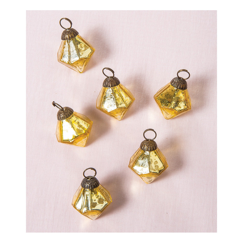 6 Pack | Mercury Glass Mini Ornaments (1 to 1.5-inch, Gold, Elizabeth Design) - Great Gift Idea, Vintage-Style Decorations for Christmas, Special Occasions, Home Decor and Parties