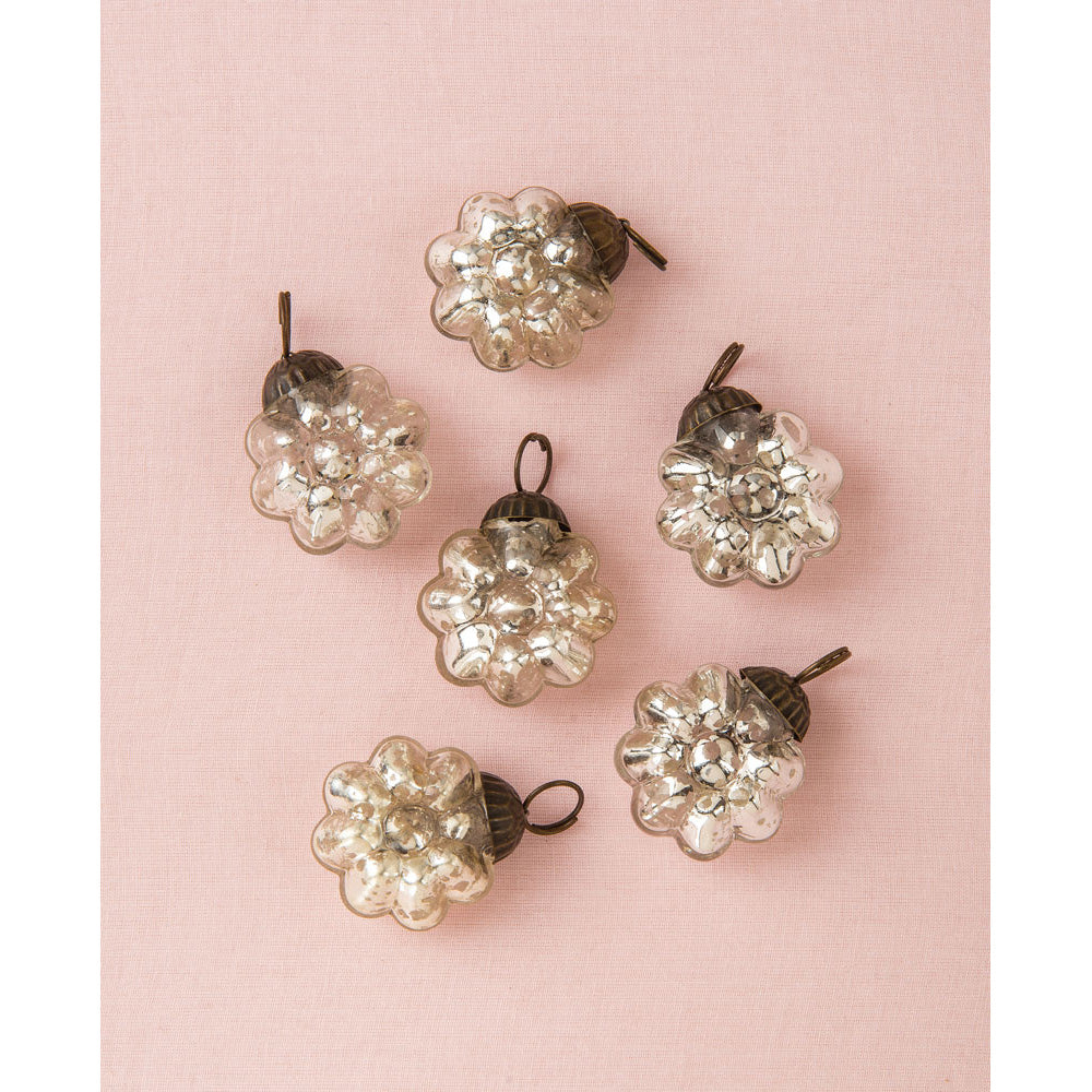 6 Pack | Mini Mercury Glass Ornaments (Celine Design, 1-Inch, Silver) - Vintage-Style Decoration