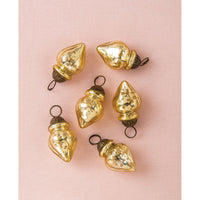 6 Pack | Mini Mercury Glass Ornaments (Blanche Design, 1-Inch, Gold) - Vintage-Style Decoration