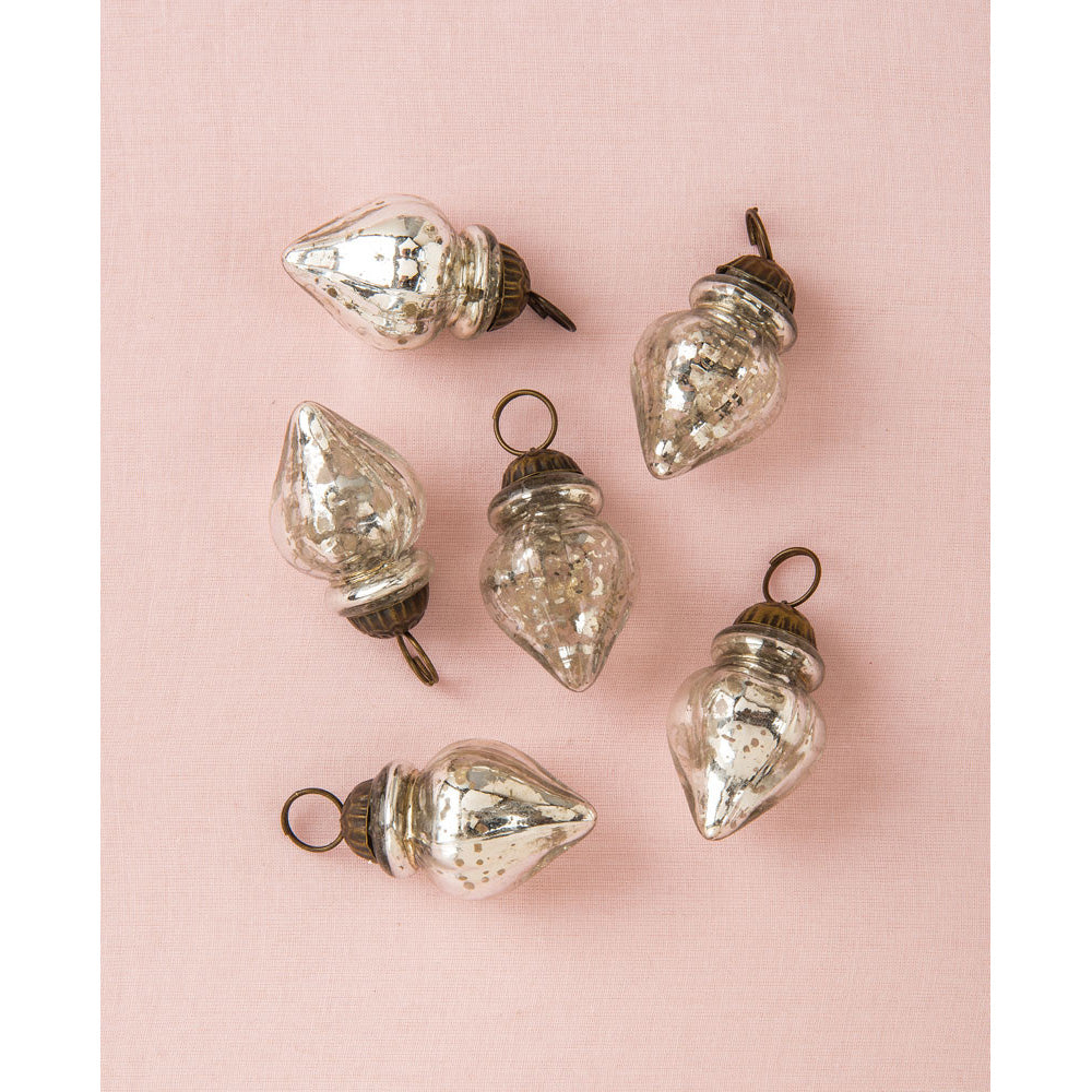 6 Pack | Mini Mercury Glass Ornaments (Blanche Design, 1-Inch, Silver) - Vintage-Style Decoration