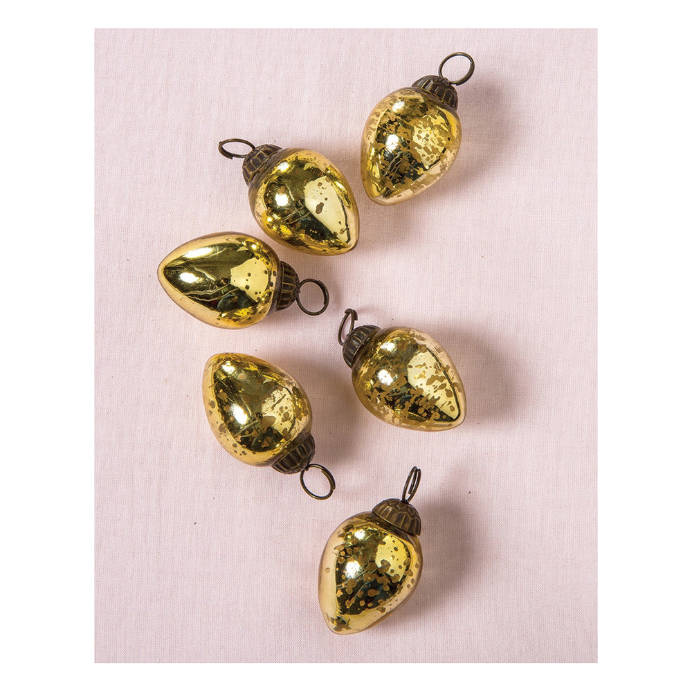 6 Pack | Mini Mercury Glass Ornaments (Raine Design, 1-Inch, Gold) - Vintage-Style Decorations