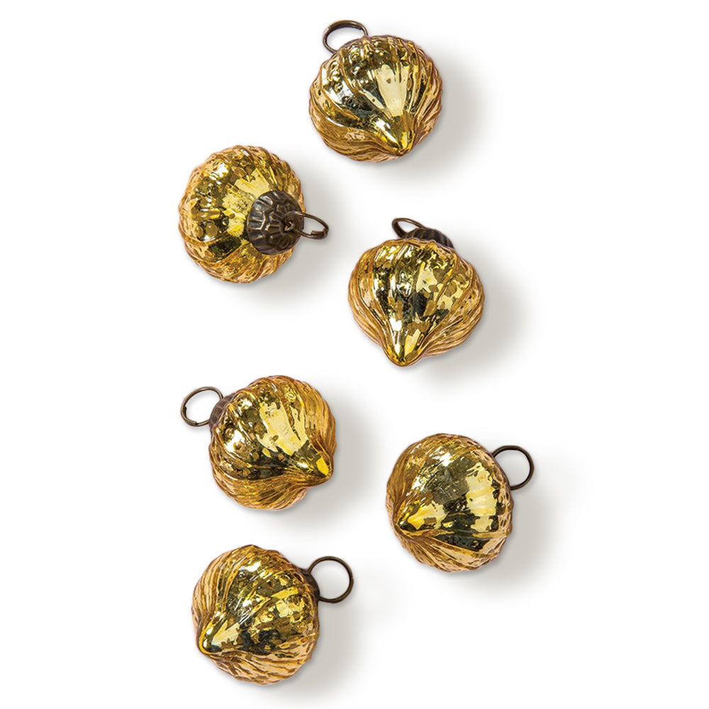 6 Pack | Mercury Glass Mini Ornaments (1 to 1.5-inch, Gold, Tania Design) - Great Gift Idea, Vintage-Style Decorations for Christmas and Home Decor - PaperLanternStore.com - Paper Lanterns, Decor, Party Lights & More