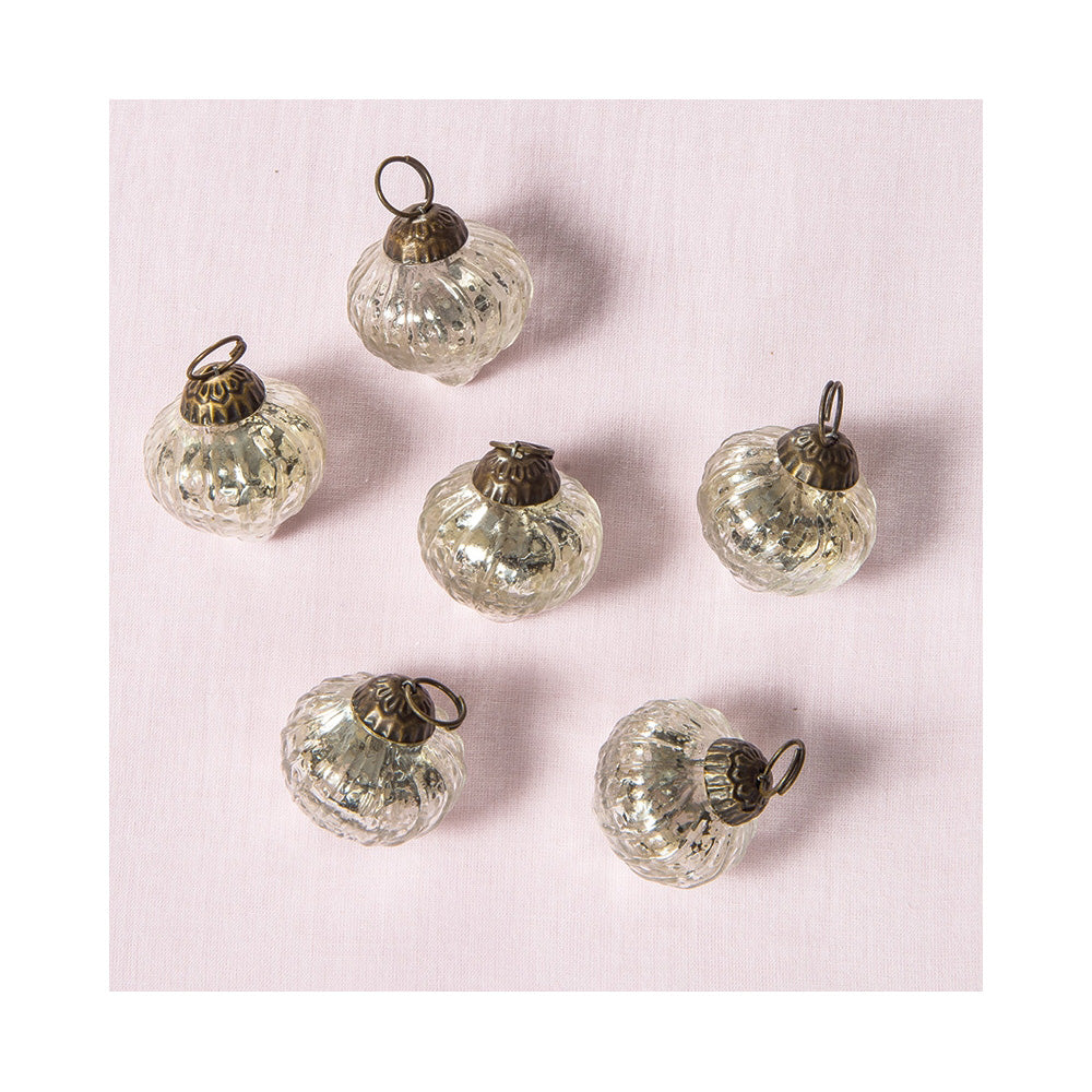6 Pack | Mercury Glass Mini Ornaments (1 to 1.5-inch, Silver, Tania Design) - Great Gift Idea, Vintage-Style Decorations for Christmas and Home Décor