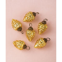 6 Pack | Mini Mercury Glass Ornaments (Diana Design, 1-Inch, Gold ) - Vintage-Style Decoration