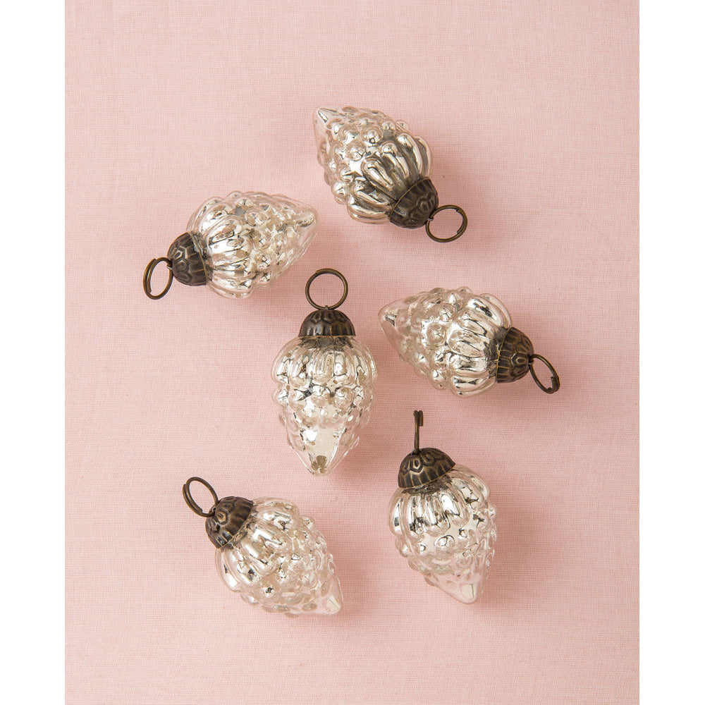 6 Pack | Mini Mercury Glass Ornaments (Diana Design, 1-Inch, Silver) - Vintage-Style Decoration