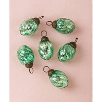 6 Pack | Mercury Glass Mini Ornaments (1 to 1.5-Inch, Vintage Green, Lois Design) - Great Gift Idea, Vintage-Style Decorations for Christmas, Special Occasions, Home Decor and Parties